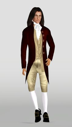 Casual dress for an century gent! This outfit has 3 parts: the coat and vest (top), the breeches (bottoms), and the cravat (accessories). Clipping occurs if your sim is heavy set or is on the. Male Vampire, Cravat, Sims 3, 18th Century, Revolution, Winter Jackets, Vest, Regency, Casual