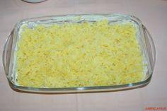 Cartofi gratinati la cuptor cu branza, cascaval, sunca, oua si smantana Grains, Rice, Mariana, Essen, Korn, Brass