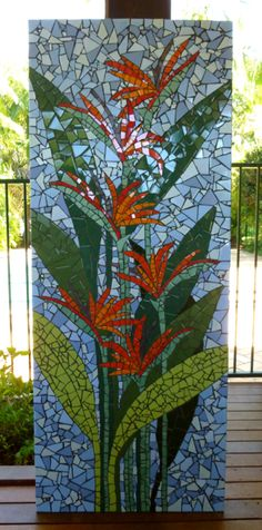 Bird of paradise 2 A large mural for a lovely couple who live on the canals in Port Macquarie. Mosaic Pots, Mosaic Birds, Mosaic Flowers, Mosaic Glass, Glass Art, Mosaic Tables, Sea Glass, Stained Glass Designs, Mosaic Designs