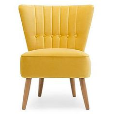Dunelm Isla Yellow Velvet Cocktail Chair - Citrus - Button Backed Occasional Chair - Curved Wingbacked Seat Upholstered Arm Chair, Swivel Chair, Velvet Office Chair, Office Chairs, Dressing Table With Chair, Deck Chairs, Ikea Chairs, Swing Chairs, Eames Chairs