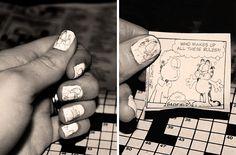 newpaper manicure. just use white nail polish