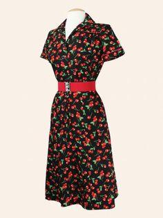 1940's style Tea Dress Cherry Black vivienofholloway.com