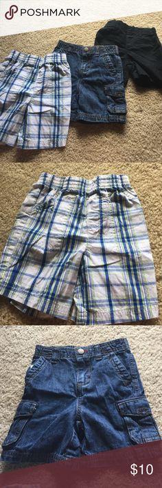 Shorts Bundle Three shorts bundle!!  The plaid shorts are 24m Garanimals.  The jean shorts are 18m Cherokee.  The black shorts are 18m Circo. Bottoms Shorts