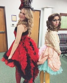 Mayzie la bird and Gertrude macfuzz costumes
