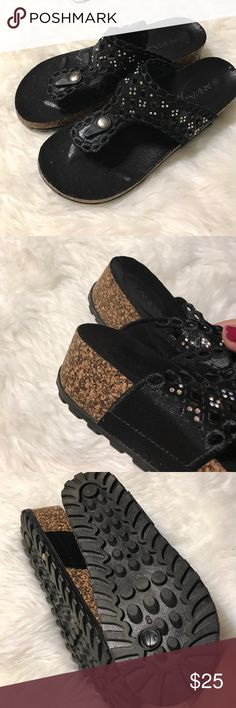 Black thong sandals Size 9. Crystals on thong. About a 2 inch wedge. Anna Shoes Sandals