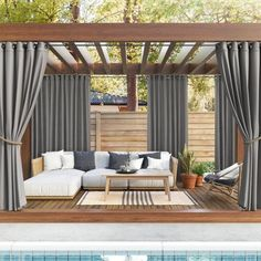 Outdoor Curtains For Patio, Outdoor Pergola, Outdoor Spaces, Pergola With Curtains, Deck Patio, Outdoor Patio Shades, Backyard Pergola, Indoor Outdoor Living, Backyard Patio Designs