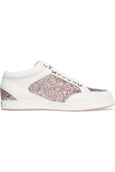 Jimmy Choo - Miami Glitter-paneled Leather Sneakers - White - IT40.5