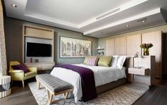 Modern Master Bedroom with Luxury Interior and Furniture