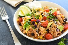 Slow Cooker Chicken Burrito Bowls - Foxes Love Lemons