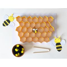 Bees in a Hive with Tongs (Practical Life) 🐝 For this activity I included a honey queen bee (made with 3 pom-poms & some googly eyes) to… Bees For Kids, Bee Crafts For Kids, Art For Kids, Art Activities For Toddlers, Graphing Activities, Spring Activities, Classroom Crafts, Preschool Activities, Montessori Kindergarten