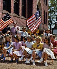 May, 1942. Patriotic display at the Beecher Street School in Southington, Conn. 4x5 Kodachrome transparency by Fenno Jacobs.