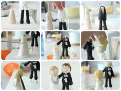 Bride and groom tutorial Wedding Cake Toppers, Wedding Cakes, Fondant People, Homemade Fondant, Bride And Groom Cake Toppers, Fondant Decorations, Cake Tutorial, Here Comes The Bride, Celebration Cakes