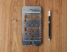 iPhone Stencil Kit: Quickly sketch out iPhone UI prototypes. Brainstorm your application ideas using this precision cut stainless steel stencil and mechanical pencil.