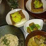 GAZIO - 厚揚げのアボカドたれ、里芋の甘辛煮、賢者の妙泉、有機栽培発芽玄米