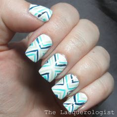 The Lacquerologist: Funky Blue V-Stripes! Nail Art with China Glaze, Essie and OPI!