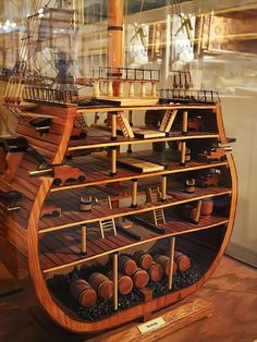 Model Cross section of Horatio Nelson's flagship the HMS Victory by mharrsch. Note, in addition to full barrels of stores in the hold, stone would have also been used for ballast, lest the ship capsize in a strong wind. Model Sailing Ships, Old Sailing Ships, Model Ships, Model Ship Building, Boat Building, Hms Victory, Ship Of The Line, Wooden Ship, Wooden Boats