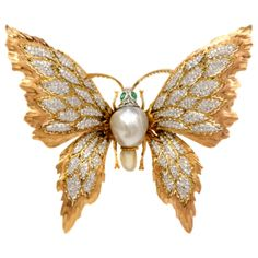Buccellati Pearl Emerald Diamond Gold Butterfly Lapel Brooch | From a unique collection of vintage brooches at http://www.1stdibs.com/jewelry/brooches/brooches/
