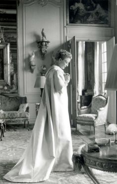Mona Bismarck wearing Balenciaga in her apartment on Avenue de New-York in Paris