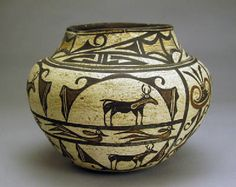 Zuni Polychrome Olla with Heartlines Deer c.1880