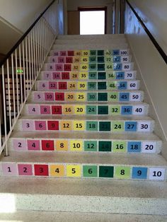 Any stairs at your kids' school where this could be done? What a neat idea to help children learn their times tables! Times Tables, Stair Decor, School Building, School Decorations, Elementary Science, Learning Environments, Classroom Organization, Math Activities, Art School