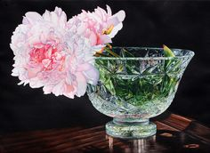 """Soon Y. Warren   Pink Peony  Image Size: 22"""" x 30""""  Transparent Watercolor on Paper"""