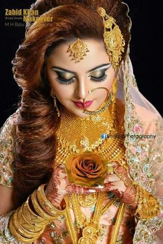 bridal jewelry for the radiant bride Bridal Makup, Pakistani Bridal Makeup, Indian Wedding Makeup, Bridal Makeup Looks, Bridal Beauty, Indian Makeup, Indian Bridal Photos, Indian Wedding Couple Photography, Bridal Makeover