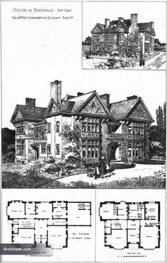 Architect: Butterworth & Duncan Perspective view, ground and first floor plans. Published in The Building News, February 12th 1897.