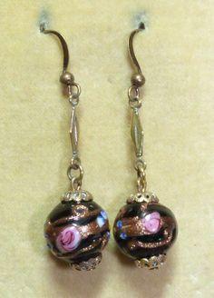 Vintage Venetian art deco black wedding cake glass bead earrings with pink roses