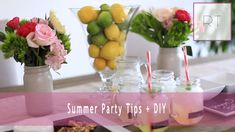 Summer Party Tips + DIY | Rachel Talbott  (Mason Jar Vases, Chalkboard Food Tray, Chalkboard Label Mason Jars)
