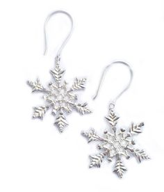 Silver plated snowflake earrings by Justine Brooks. On sterling silver hooks Ruby Tuesdays, Winter Wonder, Snowflakes, Silver Plate, Plating, Brooch, Whistler, Sterling Silver, Hooks