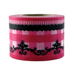 Japanese washi tape.  Decorative pink and black Gingham tape that is perfect for journals, collage, sketchbooks and more.  $16.50 each.