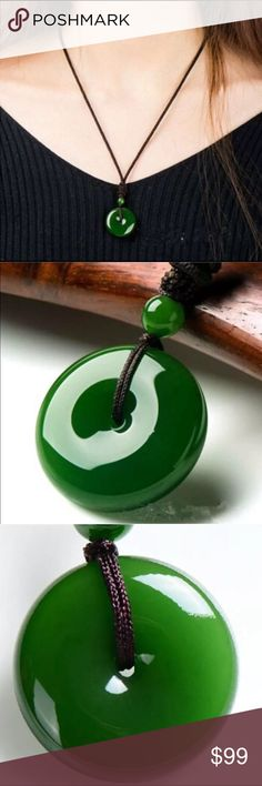 Real Round Jade Pendant Hand Carved Jade Pendant. jade Jewelry Necklaces