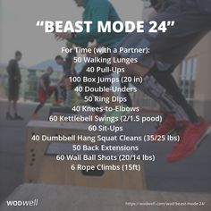 """BEAST MODE 24"" Partner WOD: For Time (with a Partner): 50 Walking Lunges; 40 Pull-Ups; 100 Box Jumps (20 in); 40 Double-Unders; 50 Ring Dips; 40 Knees-to-Elbows; 60 Kettlebell Swings (2/1.5 pood); 60 Sit-Ups; 40 Dumbbell Hang Squat Cleans (35/25 lbs); 50 Back Extensions; 60 Wall Ball Shots (20/14 lbs); 6 Rope Climbs (15ft)"