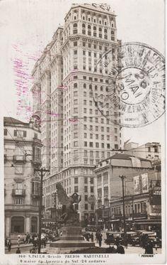 Cartão postal com imagem do Edificio Martinelli, São Paulo - Brasil. Foto da década de 1920.