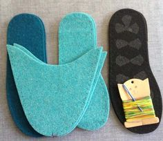 Complete Slipper Kit - Turquoise & Teal – Joe's Toes US This kit is in U. Make your own felt slippers. Our DIY Kit includes; 1 pair uppers 1 pair insoles 1 pair midsoles 1 pair outsole with latex grip needl Make your own slippers! Crochet Shoes, Crochet Slippers, Felted Slippers Pattern, Sewing Slippers, Diy Crochet, Felt Diy, Felt Crafts, Sewing Crafts, Sewing Projects