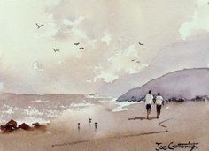 Beach Scene with dry brush watercolour technique used for waves