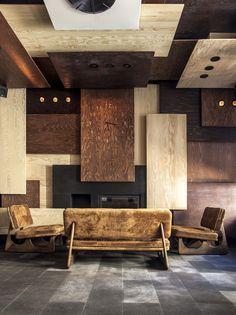 Wooden/coloured panelling Gaspar Restaurant, Istanbul, Turkey designed by Autoban Interior Design Magazine, Modern Interior Design, Interior Architecture, Wood Interiors, Office Interiors, Commercial Design, Commercial Interiors, Decoration Inspiration, Interior Inspiration