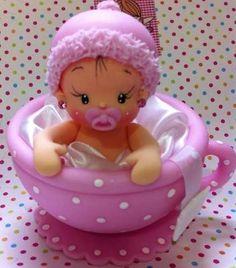 ideas for baby shower souvenirs porcelana fria Polymer Clay Figures, Polymer Clay Dolls, Polymer Clay Crafts, Polymer Clay Creations, Fondant Figures, Baby Shower Cakes, Girl Shower Cake, Baby Shower Souvenirs, Clay Baby