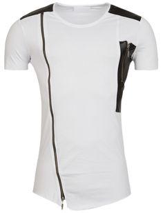 Y&R Men Faux Leather Side Zipper Shirt - White