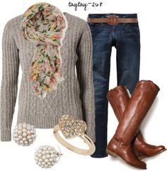 """Florals & Cable Knit"" by taytay-268 on Polyvore"