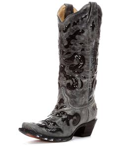 Corral Black Sequin Inlay. The boots come with black inlays and glittering black sequins throughout, along with a snip toe and fashion heel. Corral has long been known for its cutting-edge looks, and this is no exception. Corral cowgirl boots are made with western fashion details, top grade leathers, and first class quality.