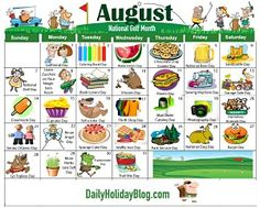 Monthly Holidays Calendars to Upload! Special Day Calendar, Holiday Calendar, Advent Calendar, Daily Holidays, Funny Holidays, August Holidays, Unusual Holidays, Everyday Holidays, Weird Holidays