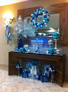 Menorah Hanukkah Decorations- really like the giant glass ball on the candlestick Hanukkah Crafts, Jewish Crafts, Hanukkah Decorations, Christmas Hanukkah, Happy Hanukkah, Blue Christmas, Kwanzaa, Holiday Crafts, Holiday Fun