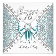 Sweet 16 Sixteen Teal Blue Silver White Diamond Custom Invitation invitations Birthday invitations by zizzago.com