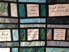 Close up of stained glass quilt