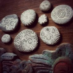 celestial painted pebbles. $70.00, via Etsy.