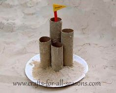 Toilet Paper Rolls Castle in Sandbox. Small Motor, Gross Motor
