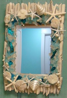 Seaglass Mirror With Seashells Starfish Driftwood by CastawaysHall (Ready To Ship)