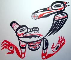 Wolf Clan with Raven potlatch gift print, on occasion of Emily Bergtold's adoption into the LaxGibou (Wolf Clan), by T'aam Laan (Jeffrey Noel Jainga)