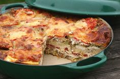 This looks interesting - Bacon Pesto & Tomato Strata
